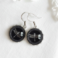 Silver And Black Glass Dragonfly Earrings