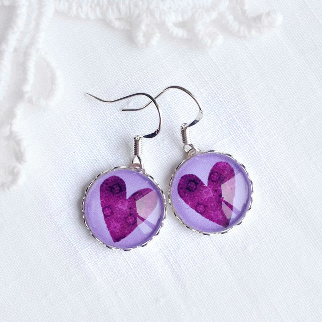 Silver Purple Heart Earrings