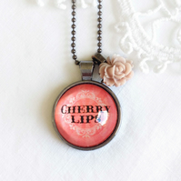 Red 'Cherry Lips' Necklace With Rose Charm