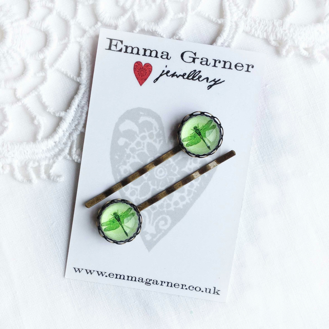 Green Glass Dragonfly Hair Slides