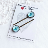 Turquoise Glass Dragonfly Hair Slides