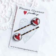 Ruby Red Glass Heart Hair Slides