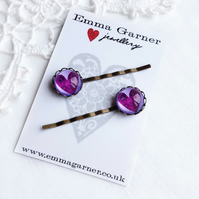 Purple Glass Heart Hair Slides