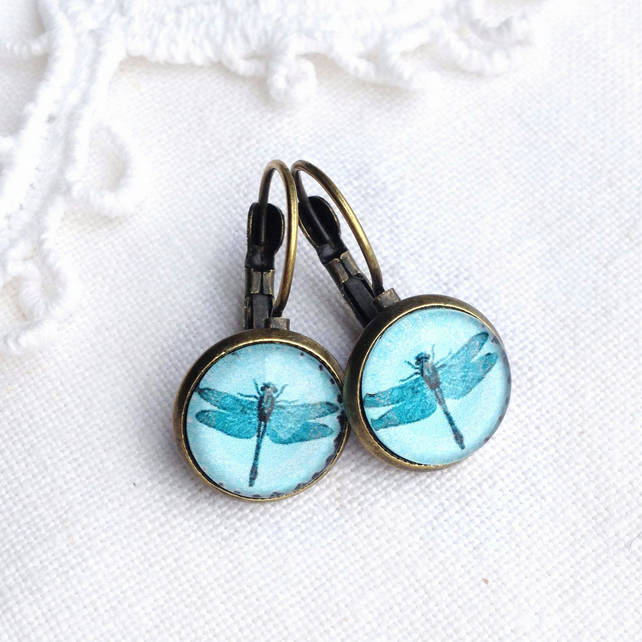 Vintage Style Turquoise Dragonfly Earrings
