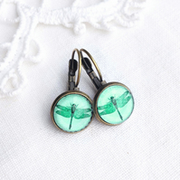 Vintage Style Pale Green Dragonfly Earrings