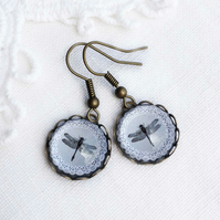 White Lace Pattern Glass Dragonfly Earrings