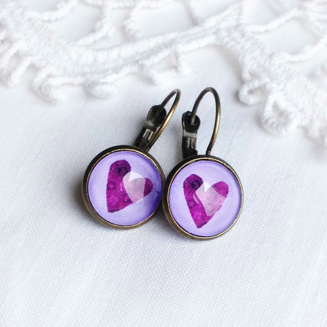 Vintage Style Purple Love Heart Earrings