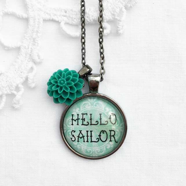 Vintage Style Sea Green 'Hello Sailor' Necklace With Flower Charm