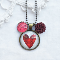 Vintage Style Red Heart Necklace With Ooh La La & Flower Charm