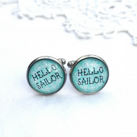 Sea Green 'Hello Sailor' Cufflinks