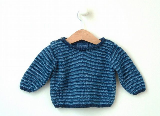 Knitting Pattern For Newborn Jumper : KNITTING PATTERNS baby boy jumper - sizes newbo... - Folksy