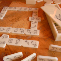 Double Bunny Dominoes Vintage Ivory, unique handmade gift