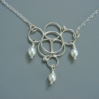 Bridal Sterling Silver Filigree and Pearl Bubble Design Necklace Pendant