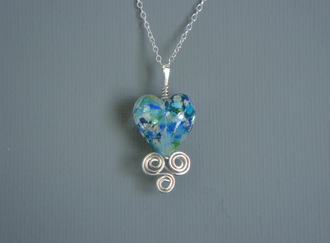 Bridesmaids' Gift Blue Green Murano Heart Pendant In Filligree Sterling Silver