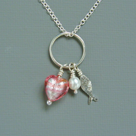 Mothers Day Sterling Silver Fish Pendant Karma Necklace Murano Heart & Pearl