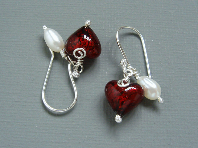 Red Murano Heart Lined 24K gold and Pearl Sterling Silver Drop Earrings