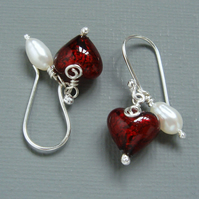 Valentines Day Present Red Murano Heart and Pearl Sterling Silver Drop Earrings