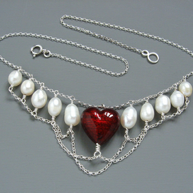 Valentines Heart in Chains Pearl & Red Murano Heart Necklace in Sterling Silver