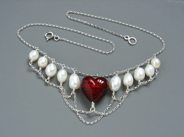 Heart in Chains Freshwater Pearl & Red Murano Heart Necklace in Sterling Silver