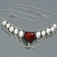 Heart in Chains Pearl and Deep Red Murano Heart Necklace in Sterling Silver