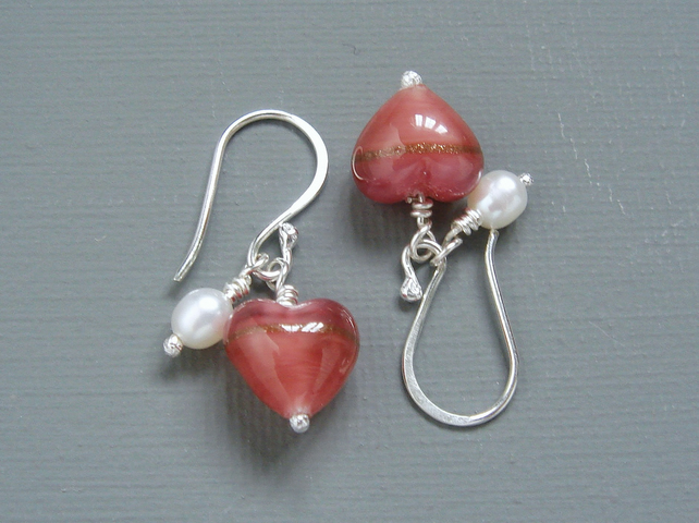 Rose Pink Murano Heart & Pearl Sterling Silver Drop Earrings Bridesmaids Gift