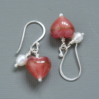 Valentines Day Rose Pink Murano Heart & Pearl Sterling Silver Drop Earrings