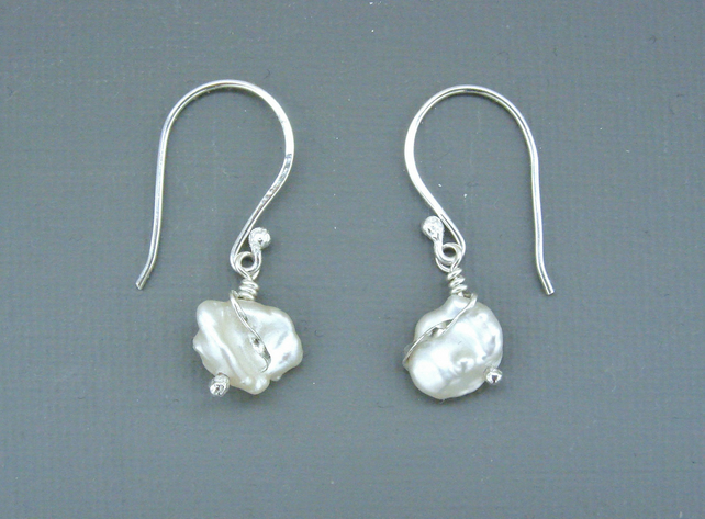 Bridal Sterling Silver Wire-work Drop Earrings With White Keishi Pearls