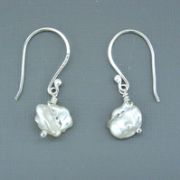 Bridal Hallmarked Sterling Silver Wire-work Drop Earrings White Keishi Pearls