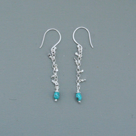 Sequin Long Drop Earrings In Sterling Silver With Semi-Precious Turquoise Drops