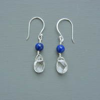 Raindrop Crystal Clear Quartz and Lapis Lazuli Sterling Silver Drop Earrings