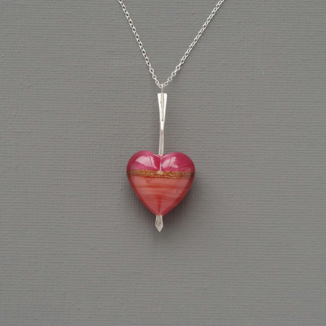 Cupid's Dart Genuine Pink Murano Heart Pierced With A Silver Arrow Pendant