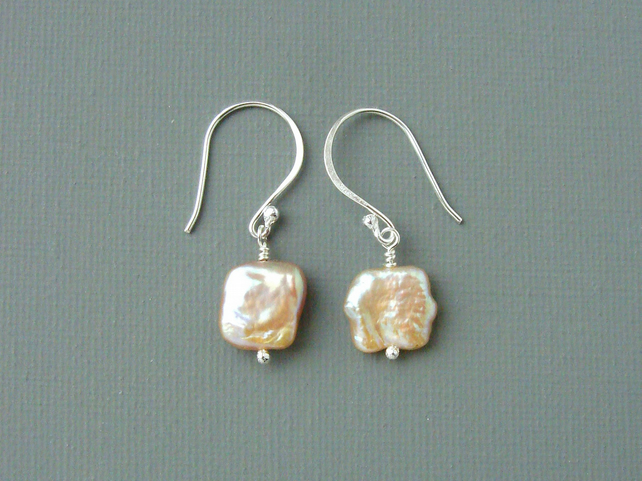All Square Peach Coloured Freshwater Pearl and Sterling Silver Drop Earrings