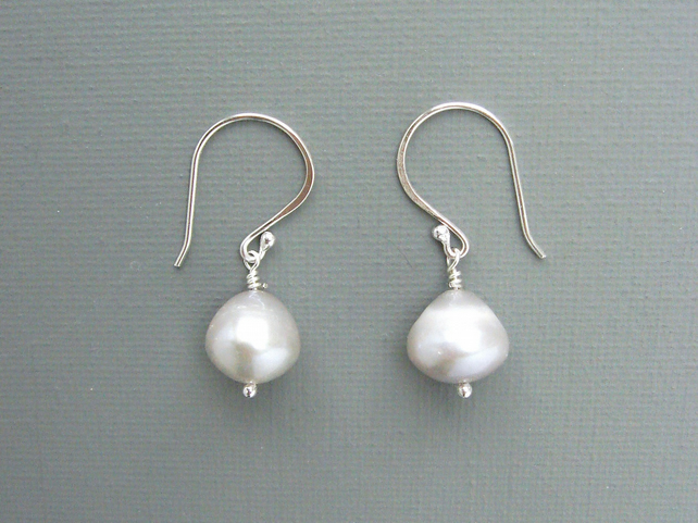 Grey Freshwater Pearl and Sterling Silver Drop Earrings Inspired by Vermeer