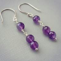 February Birthstone Sterling Silver Amethyst Gemstone Minimalist Drop Earrings