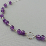 Karma Necklace of Sterling Silver and Amethyst Gemstones Handmade Chain