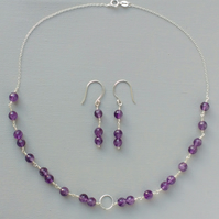 Amethyst and Sterling Silver Chain Karma Necklace and Earrings Set