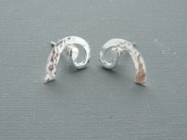 Nautilus Ammonite Hand Forged Sterling Silver Stud Earrings With Hammered Detail