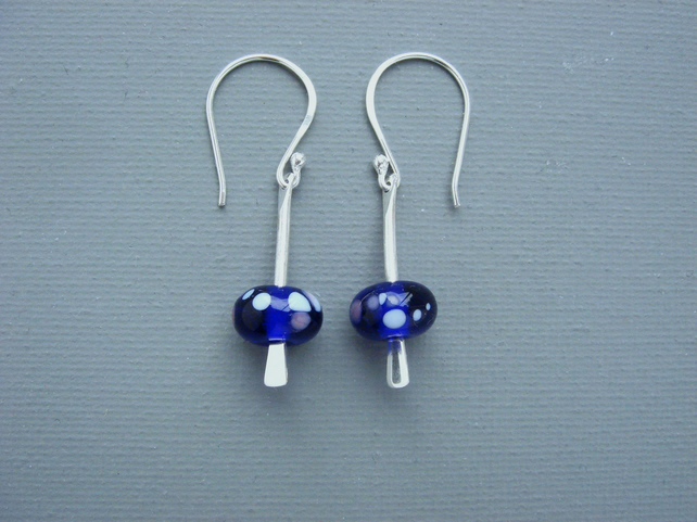 Reduced Sterling Silver Drop Earrings With British Lampwork Blue & White Spots