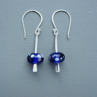 Dotty Solid Sterling Silver Drop Earrings With cobalt blue British Lampwork