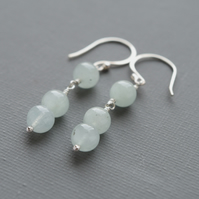 Aquamarine Gemstone Hallmarked Sterling Silver Minimalist Drop Earrings
