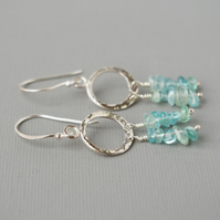 Semi Precious Aqua Beryl and Sterling Silver Roman Style Drop Hoop Earrings