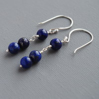 December Birthstone Lapis Lazuli Gem Sterling Silver Minimalist Drop Earrings