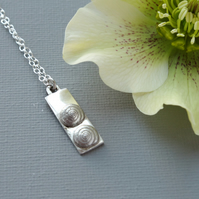 Chunky Hallmarked Sterling Silver Tag Pendant With Twin Silver Shells