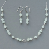 Sterling Silver & Aquamarine Gemstone Minimalist Karma Necklace and Earrings Set