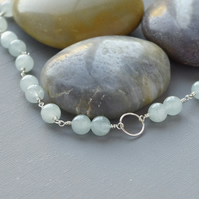 Karma Necklace of Sterling Silver and Aquamarine Gemstone Beads Hand Made Chain