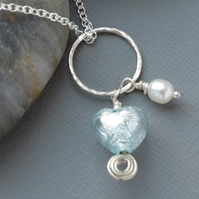 Bridesmaids' Sterling Silver Mint Green Murano Heart & Freshwater Pearl Necklace