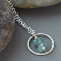 Minimalist Sterling Silver and Apatite Gem Karma Pendant Necklace on Trace Chain