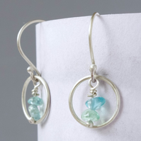 Sterling Silver Hoop and Apatite Dangle Drop Karma Earrings