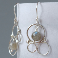 Sterling Silver Filigree and Labradorite Bubble Design Chandelier Drop Earrings