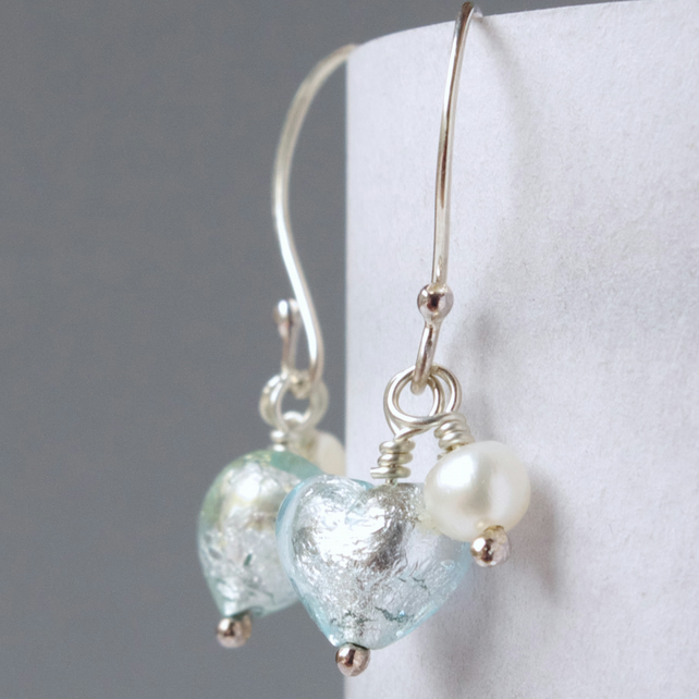 Bridesmaids' Present Mint Green Murano Heart and Pearl Drop Earrings